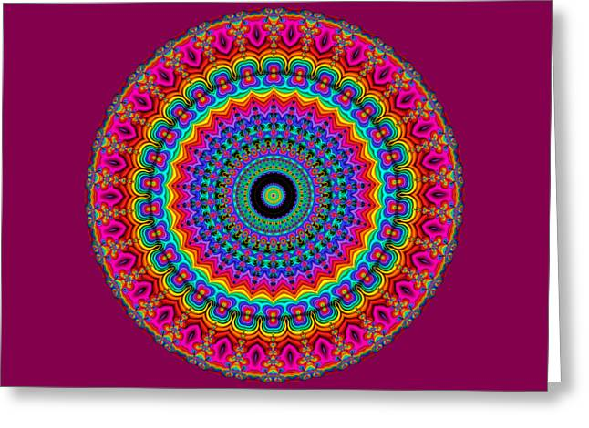 Red Abstracts Greeting Cards - Super Rainbow Mandala Greeting Card by Ruth Moratz