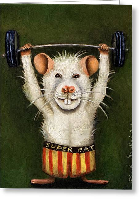 Body Builder Greeting Cards - Super Rat Greeting Card by Leah Saulnier The Painting Maniac