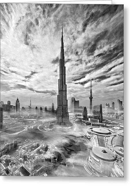 Dubai Greeting Cards - Super Skyline Greeting Card by Koji Tajima
