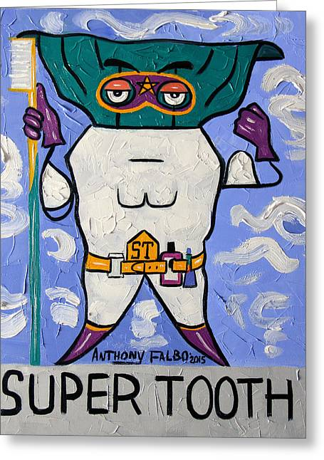 Pulled Print Greeting Cards - Super Tooth Greeting Card by Anthony Falbo