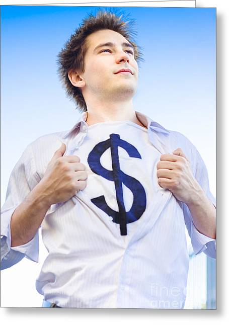 Thinking Person Greeting Cards - Superannuation Man Greeting Card by Ryan Jorgensen