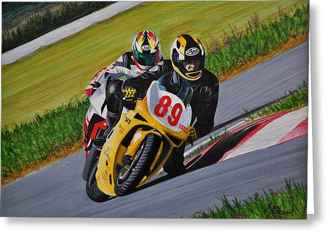 Superbikes Greeting Card by Kenneth M  Kirsch
