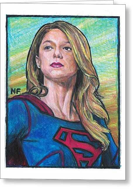 Supergirl As Portrayed By Actress Melissa Benoit Greeting Card by Neil Feigeles
