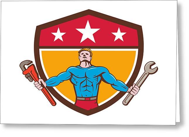 Superhero Handyman Spanner Wrench Shield Cartoon Greeting Card by Aloysius Patrimonio