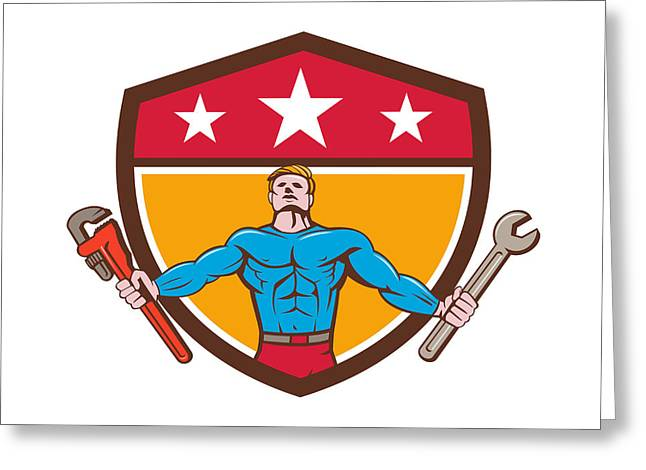 Super Stars Greeting Cards - Superhero Handyman Spanner Wrench Shield Cartoon Greeting Card by Aloysius Patrimonio