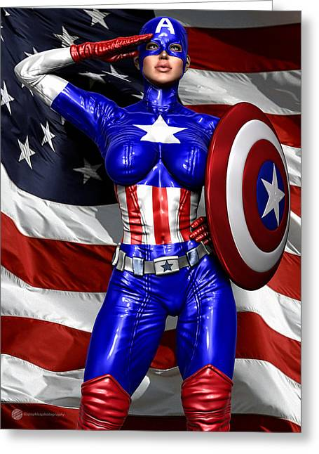 Superwoman Greeting Cards - Superheroine 4 Greeting Card by Todd and candice Dailey