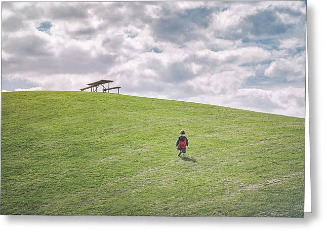 Superman And The Big Hill Greeting Card by Scott Norris