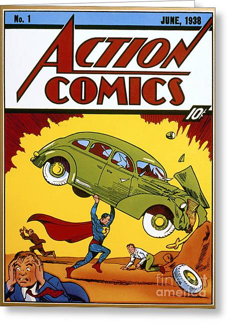 First Greeting Cards - Superman Comic Book, 1938 Greeting Card by Granger