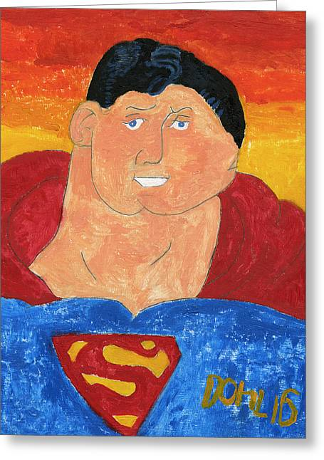 Superman Greeting Card by Don Larison