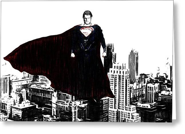 Superman In Manhattan Comic Charcoal Greeting Card by Dan Sproul