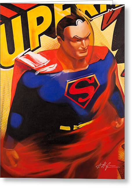 Toys Paintings Greeting Cards - Superman Greeting Card by Karl Melton