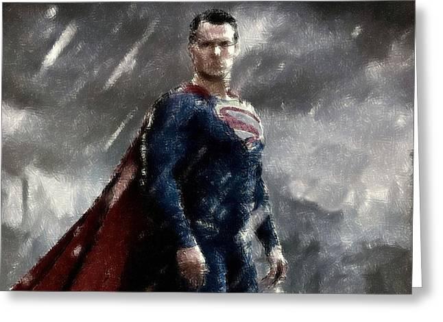 Heroes Pastels Greeting Cards - Superman Oil Pastel Sketch Greeting Card by Movie Poster Prints