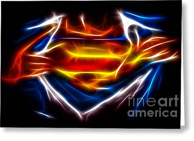Men Mixed Media Greeting Cards - Superman Greeting Card by Pamela Johnson