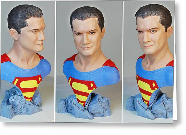 Book Sculptures Greeting Cards - Superman Greeting Card by Ray Santoleri