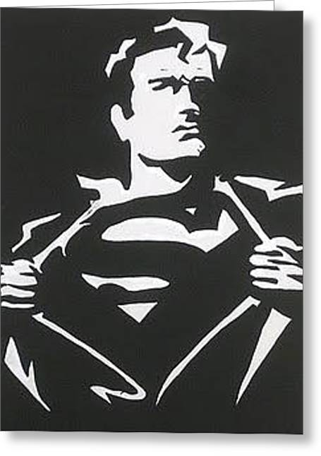 Silhouettes Of Famous People Drawings Greeting Cards - Superman Taking It Off Greeting Card by Robert Margetts