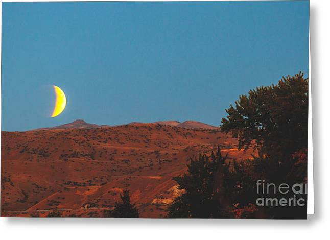 Surreal Moonrise Greeting Cards - Supermoon Eclipse Over The Foothills Greeting Card by Robert Bales