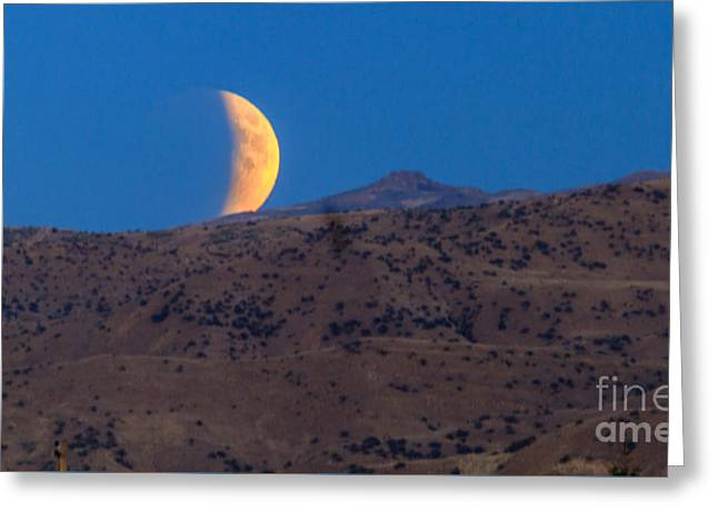 Surreal Moonrise Greeting Cards - Supermoon Eclipse Greeting Card by Robert Bales