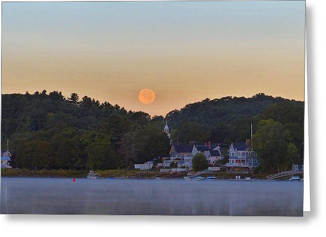 Amesbury Greeting Cards - Supermoon Over Amesbury Greeting Card by Christine Green