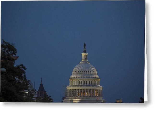 Moonrise Greeting Cards - Supermoon over Washington DC Greeting Card by NASA Bill Ingalls