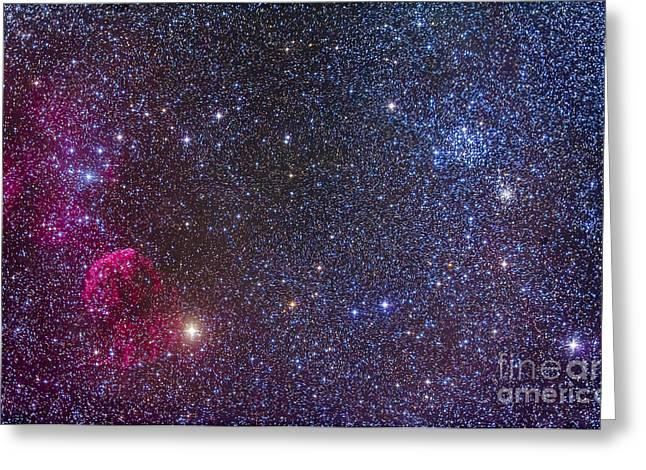 Stellar Remnant Greeting Cards - Supernova Remnants And Star Clusters Greeting Card by Alan Dyer