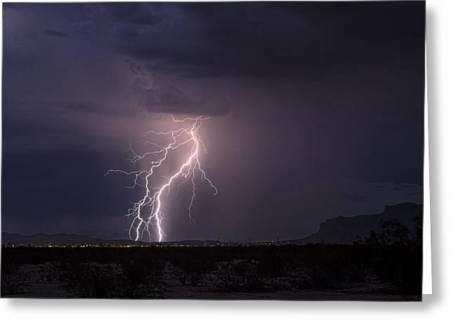 Arizona Lightning Greeting Cards - Superstition Lightning  Greeting Card by Saija  Lehtonen
