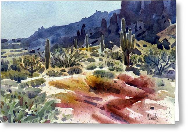 Saguaro Cactus Greeting Cards - Superstition Mountain Greeting Card by Donald Maier