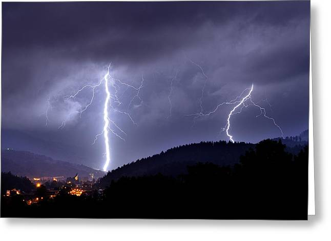Storm Landscape Greeting Cards - Superstrike Greeting Card by Przemyslaw Wielicki