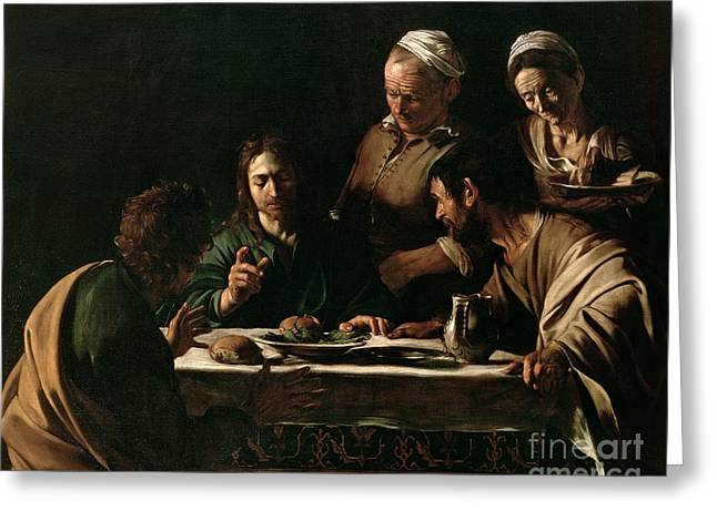 Biblical Greeting Card featuring the painting Supper At Emmaus by Michelangelo Merisi da Caravaggio