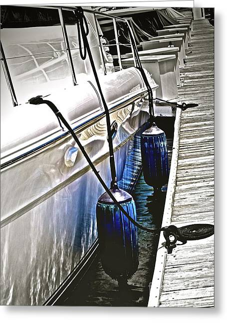 Docked Boat Greeting Cards - Sure-Thing Boat Greeting Card by Gwyn Newcombe