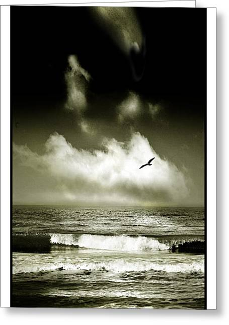 Seagul Greeting Cards - Surf and Sky at Rhos on sea North Wales Greeting Card by Mal Bray