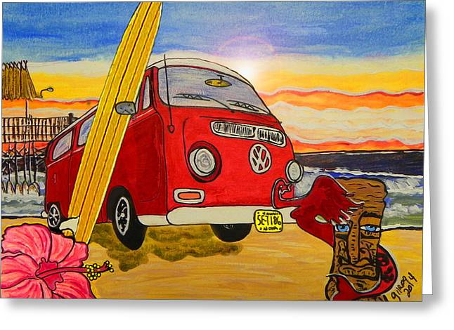 Vw Beetle Greeting Cards - Surf Art Greeting Card by W Gilroy