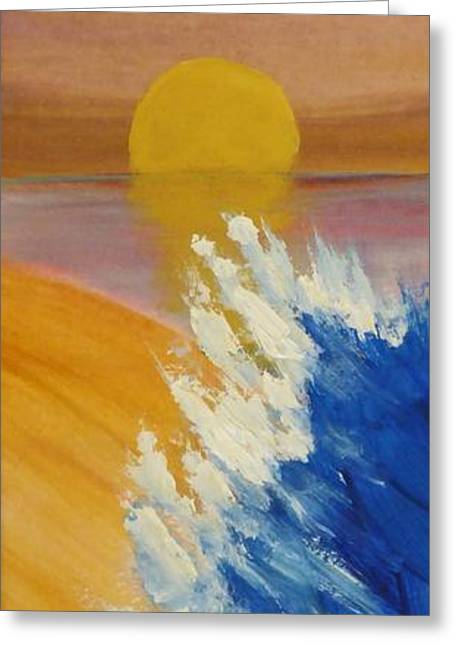 Abstract Waves Greeting Cards - Surf at Sunset Greeting Card by Sharon Eng