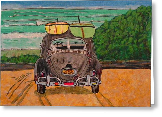 Vw Beetle Greeting Cards - Surf Beetle Greeting Card by W Gilroy