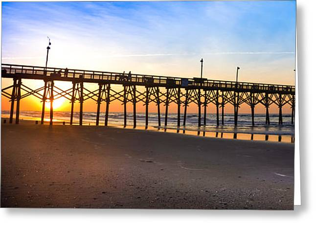 Surf City Greeting Cards - Surf City Fishing Pier Greeting Card by Karen Wiles
