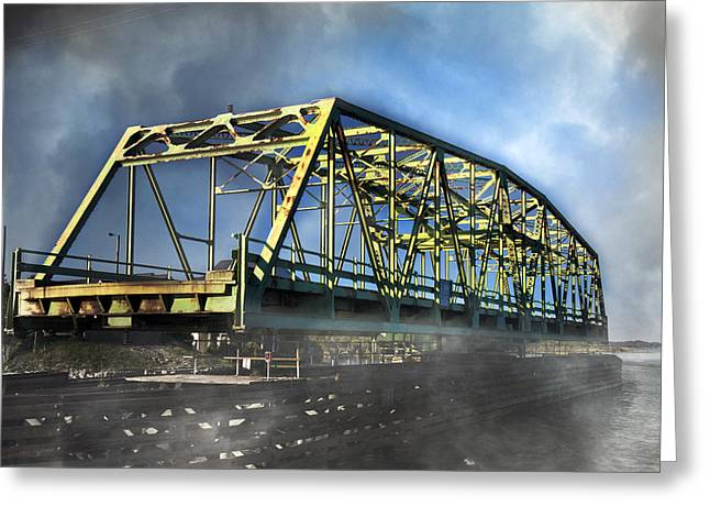 Surf City Nc Swing Bridge Greeting Card by Betsy C Knapp