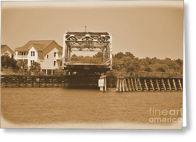 Sailboat Images Greeting Cards - Surf City Vintage Swing Bridge In Sepia 1 Greeting Card by Bob Sample