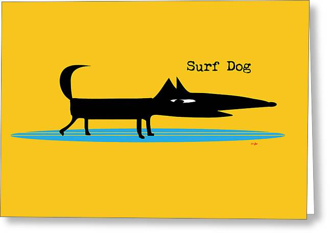 Surfer Drawings Greeting Cards - Surf Dog Greeting Card by Surf Dog Maximus