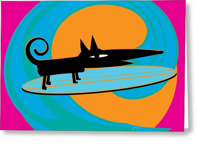 Surfin The Wave Greeting Cards - Surf Dog Tube Riding Greeting Card by Surf Dog Maximus
