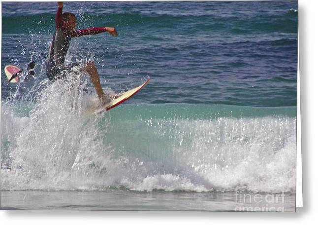 Blue Green Wave Greeting Cards - Surf Dude Greeting Card by Terri  Waters