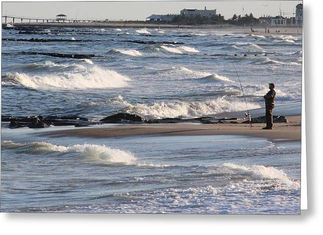 Seascape Greeting Cards - Surf fishing Greeting Card by Joe Valencia