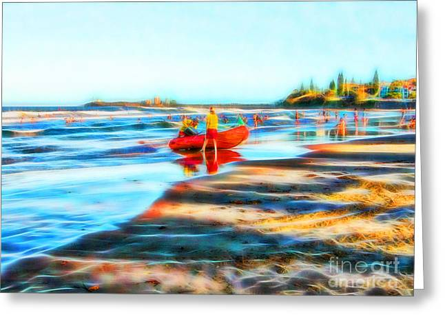Surf Life Saving On Beautiful Beach Greeting Card by Wendy Townrow
