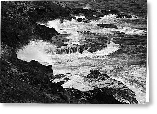 Caost Greeting Cards - Surf on Volcanic Coastline-St Lucia Greeting Card by Chester Williams
