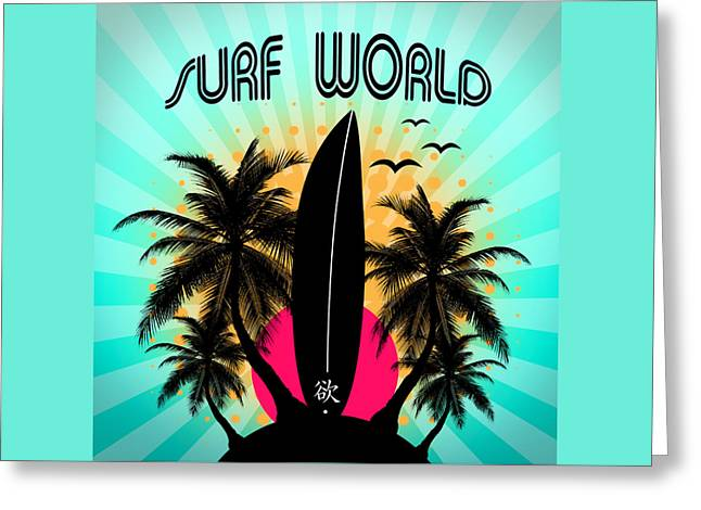 Cell Wall Greeting Cards - Surf World  Greeting Card by Mark Ashkenazi