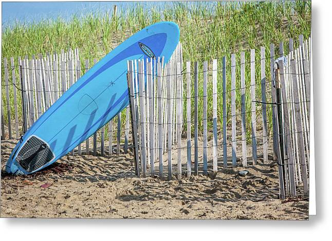 Surfboard And Sandals Greeting Card by Art Block Collections