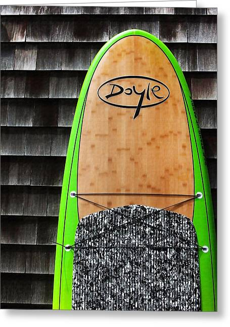 Beach Cottage Style Greeting Cards - Surfboard and Shingles Greeting Card by Art Block Collections