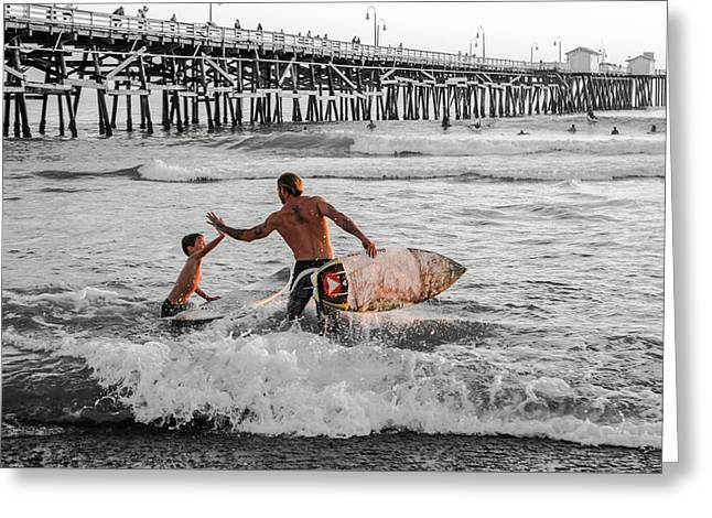 California Ocean Photography Greeting Cards - Surfboard Inspirational - Selective Color Greeting Card by Scott Campbell