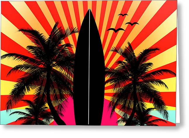 Surreal Geometric Greeting Cards - Surfboard Greeting Card by Mark Ashkenazi