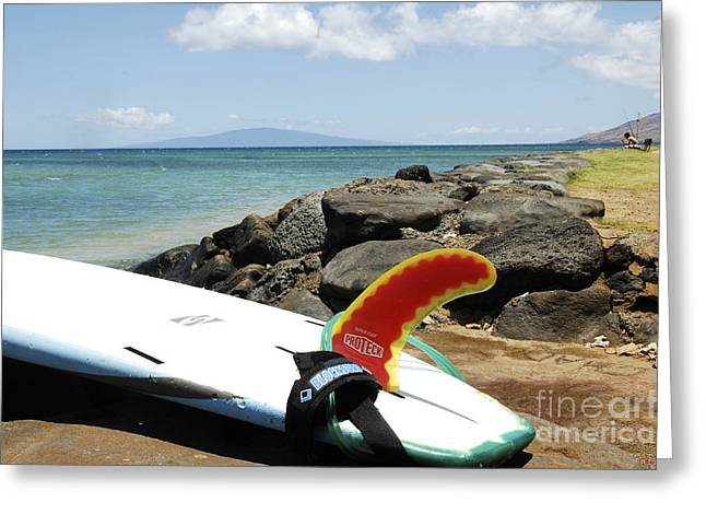 Warm Summer Greeting Cards - Surfboard on Maui Greeting Card by Micah May