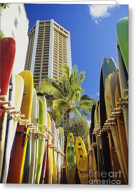 Surfing Photos Greeting Cards - Surfboard Stack Greeting Card by Peter French - Printscapes