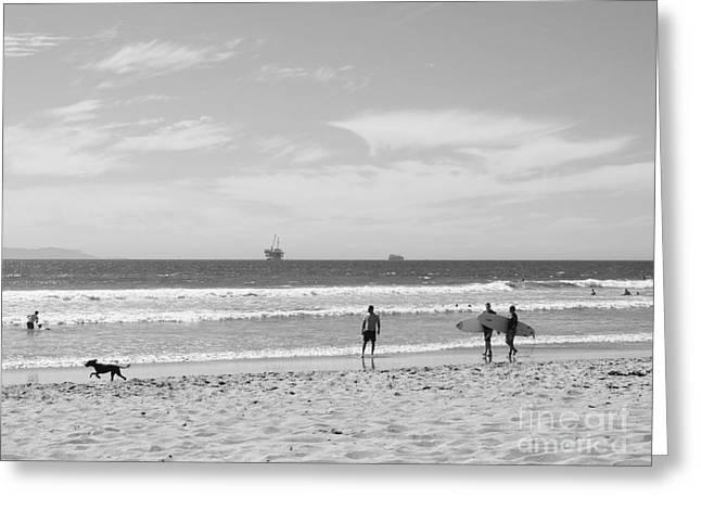 California Beaches Greeting Cards - Strollin on Dog Beach Greeting Card by Leah McPhail